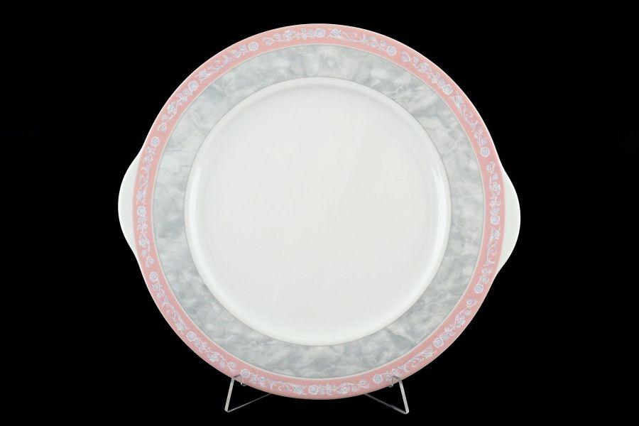 "Тарелка для торта 27 см ""Яна Серый мрамор с розовым кантом"""