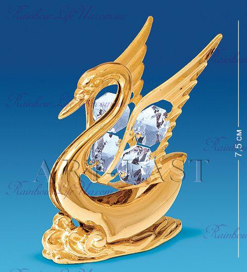 "Фигурка лебедь на волне с камнями ""Swarovski"""