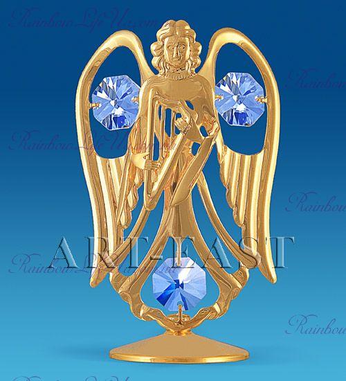 "Фигурка ангел с арфой с камнями ""Swarovski"""