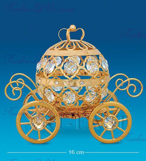 "Фигурка золотая карета с камнями ""Swarovski"""