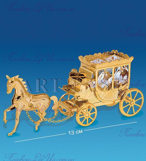 "Фигурка карета с лошадью с камнями ""Swarovski"""