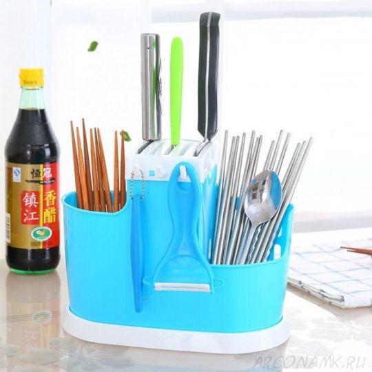 Органайзер для хранения столовых приборов Chopsticks Cage, Голубой