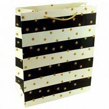 """Пакет подарочный """"Золотые звездочки на черно-белом"""" с глиттером, 26*32*10 см"""