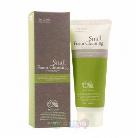 3W CLINIC Пенка для умывания с улиточным муцином Snail Foam Cleansing, 100 мл