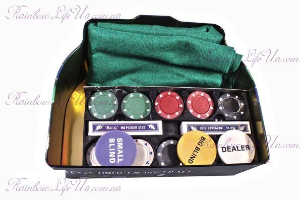 """Набор для игры в покер в оловянной коробке 200 фишек, 2 колоды карт """"Duke"""""""