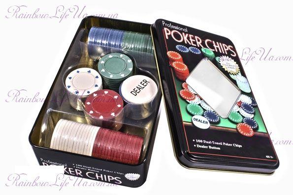 """Набор для игры в покер в оловянной коробке 100 фишек """"Duke"""""""