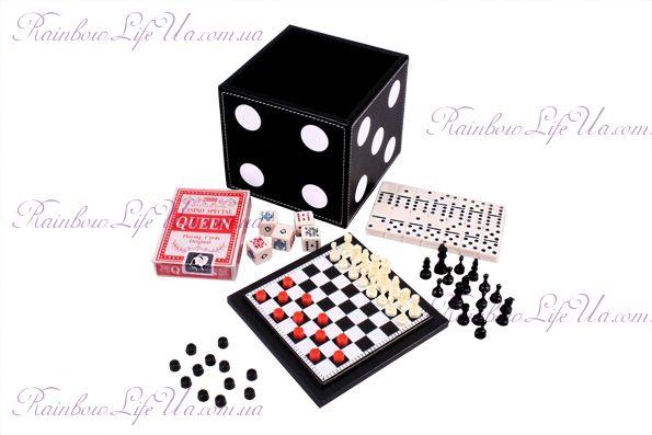 """Набор из 5 игр: колода карт, шахматы, шашки, домино, кости """"Duke"""""""