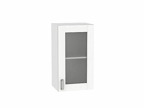 Шкаф верхний Лофт В409 со стеклом (Snow Veralinga)