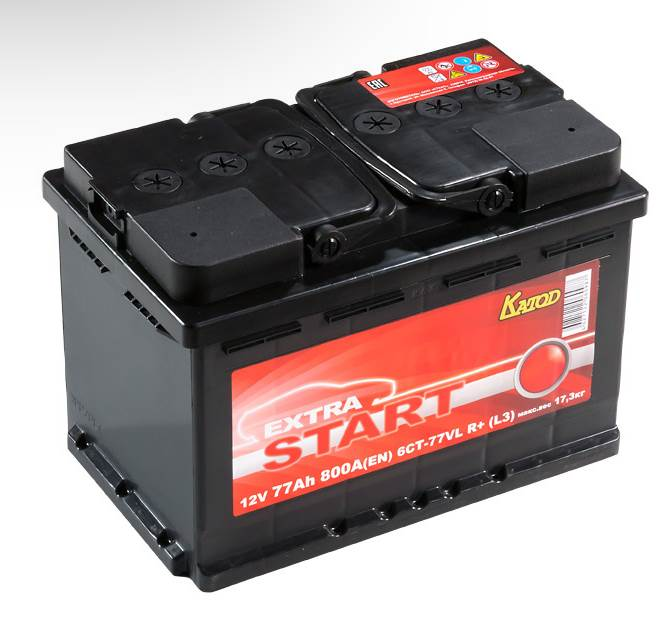 Автомобильный аккумулятор АКБ Extra START (Экстра Старт) 6CT-77 77Ач п.п.