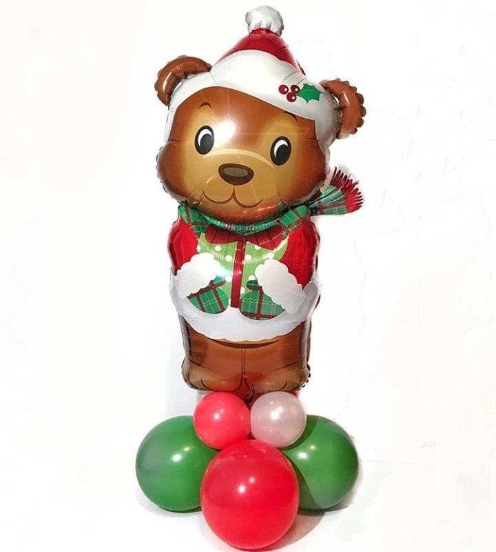 Мишка новогодний фигура из шаров