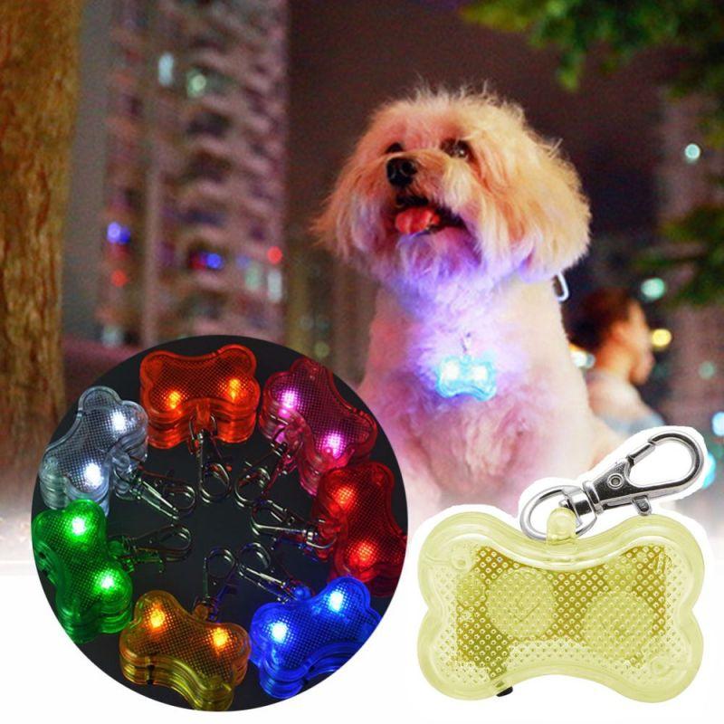 Светодиодный Брелок-адресник с Информационной Наклейкой для Собак Косточка, Цвет Желтый
