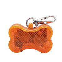 Светодиодный брелок-адресник с информационной наклейкой для собак Косточка, Цвет Оранжевый (2)