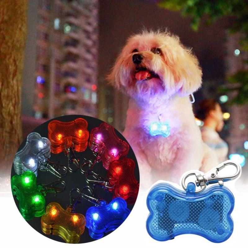 Светодиодный Брелок-адресник с Информационной Наклейкой для Собак Косточка, Цвет Синий