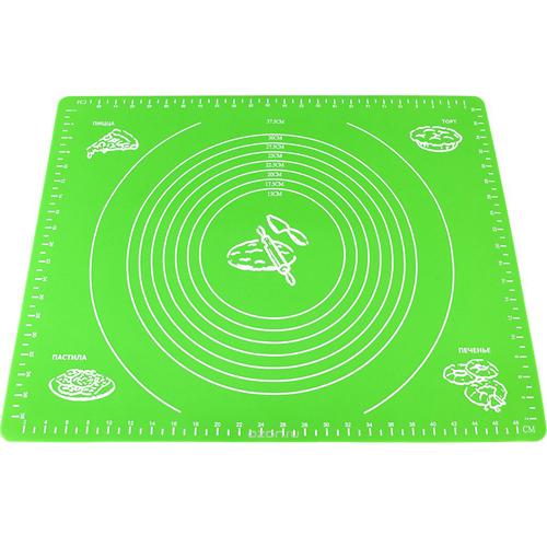Силиконовый коврик для раскатывания теста, 30х40 см, цвет - зелёный.