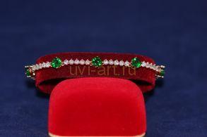 Позолоченный браслет с искусственными изумрудами и бриллиантами (арт. 800241)