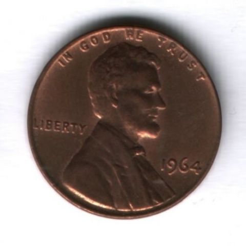 1 цент 1964 года США AUNC