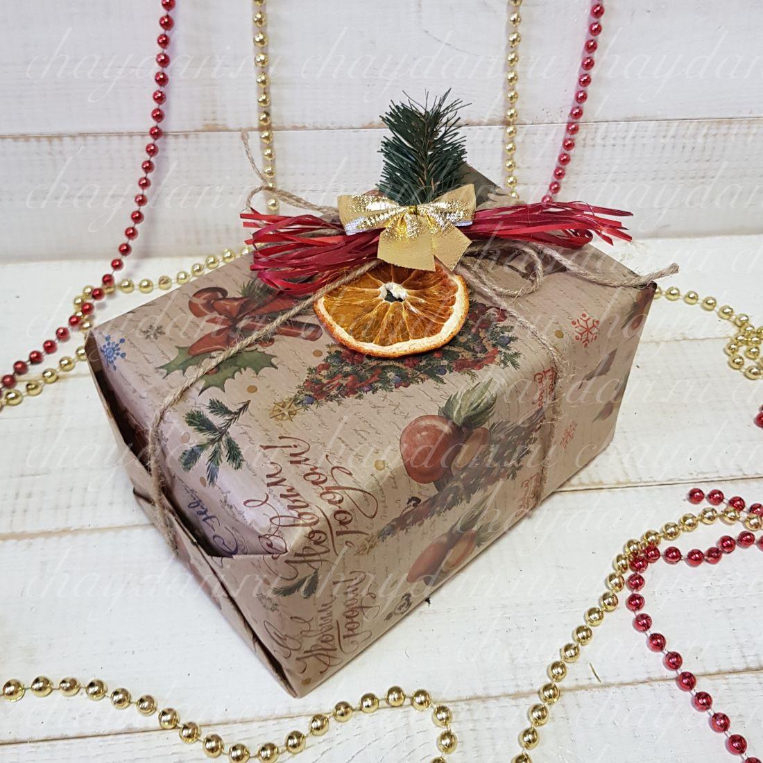 """Коробка с чаем и сладостями """"Новогодний цитрус"""""""