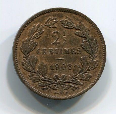 2,5 сантима 1908 года Люксембург XF+