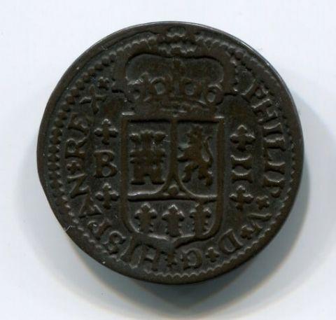 2 мараведи 1720 года Испания XF-