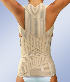 Усиленный грудо-поясничный корсет с самомоделирующимися ребрами жесткости