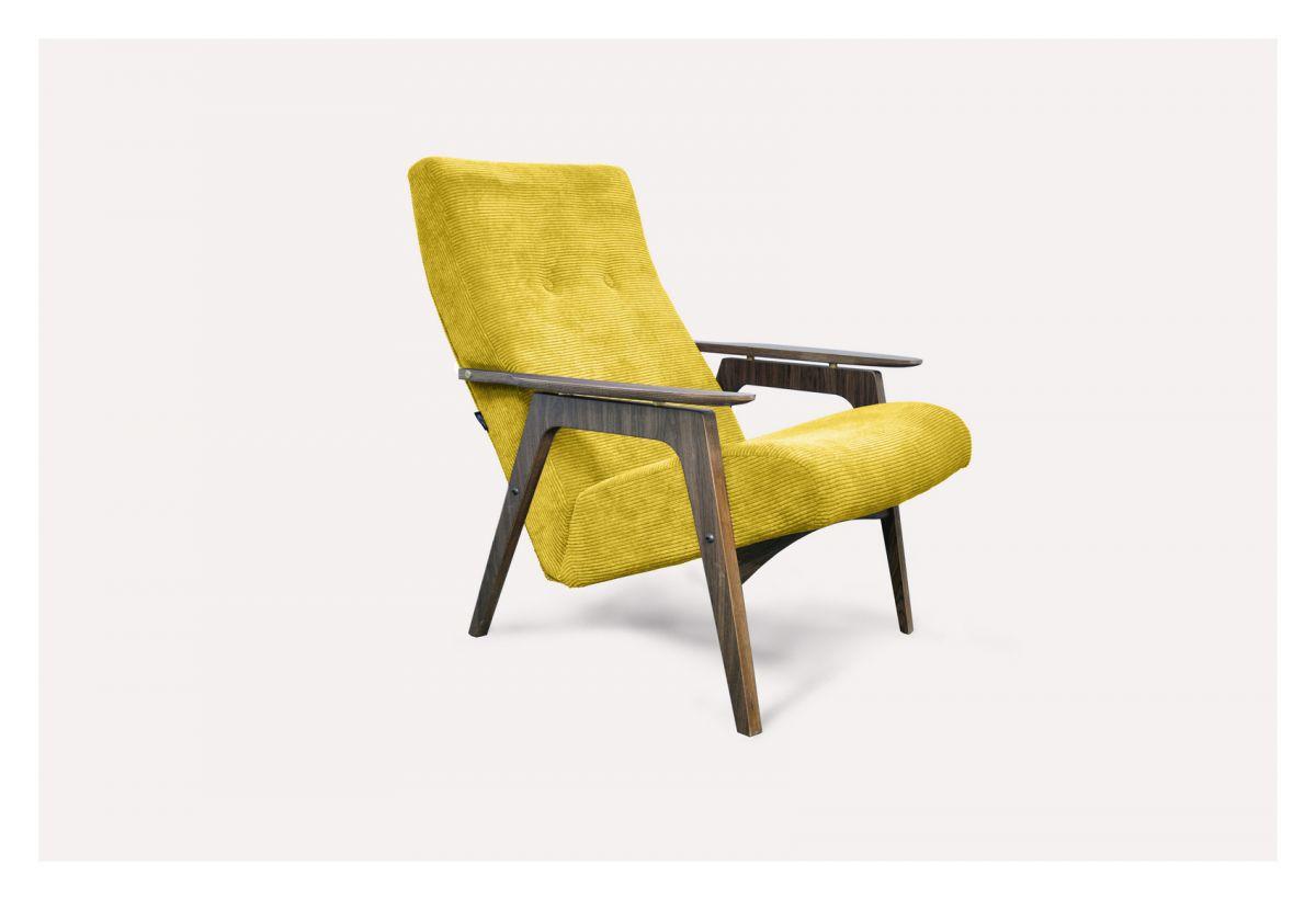 Кресло Каллисто (горчичное, вельвет) модерн середины 20 века (Sputnikfurniture)