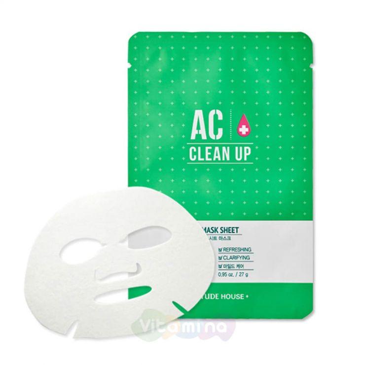Etude House Очищающая маска для проблемной кожи AC Clean Up Mask Sheet, 27 мл