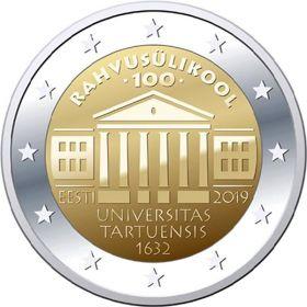 100 лет преподаванию на эстонском языке в университете Тарту 2 евро Эстония 2019