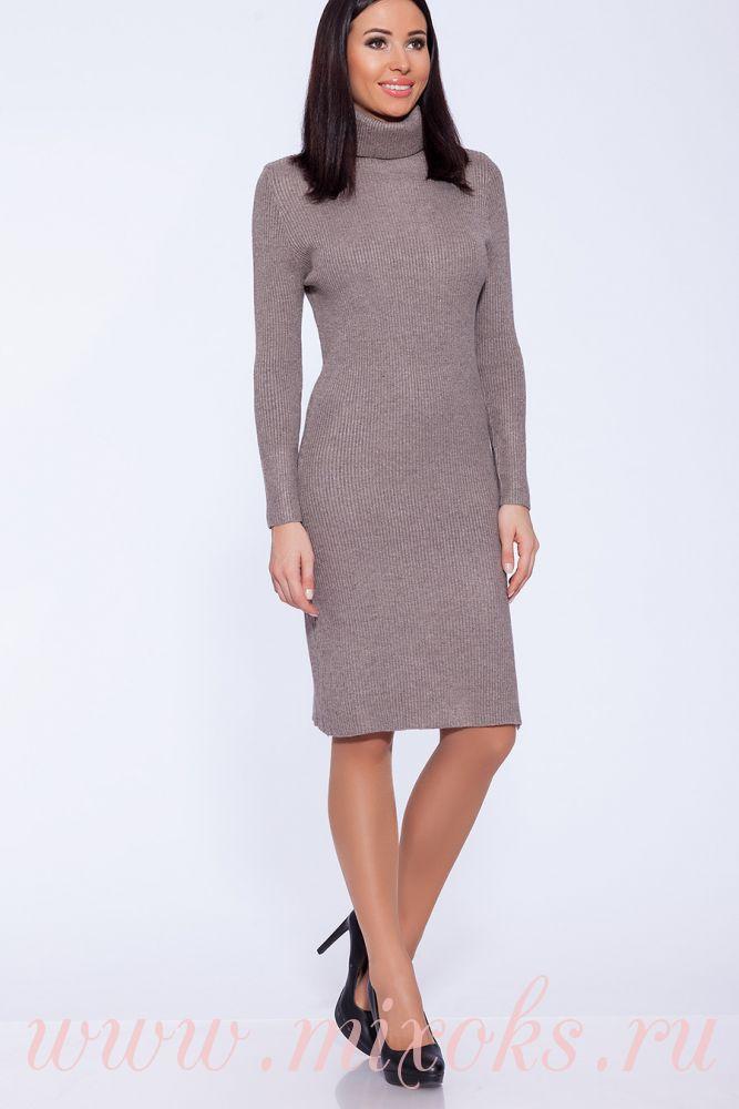 Платье вязаное бежевое