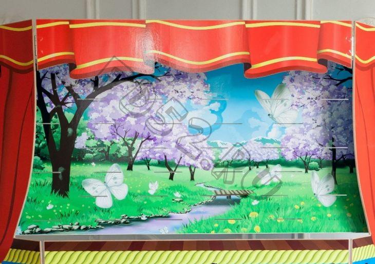 Экран для кукольного театра весна-деревня