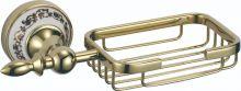 S-006832B SAVOL Durer Мыльница решетчатая керамическая, латунная.Золото