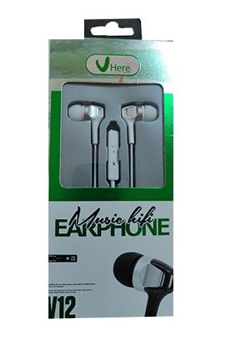 Наушники с проводом HERE Music Hifi earphone V12 белые с микрофоном для общения по телефону