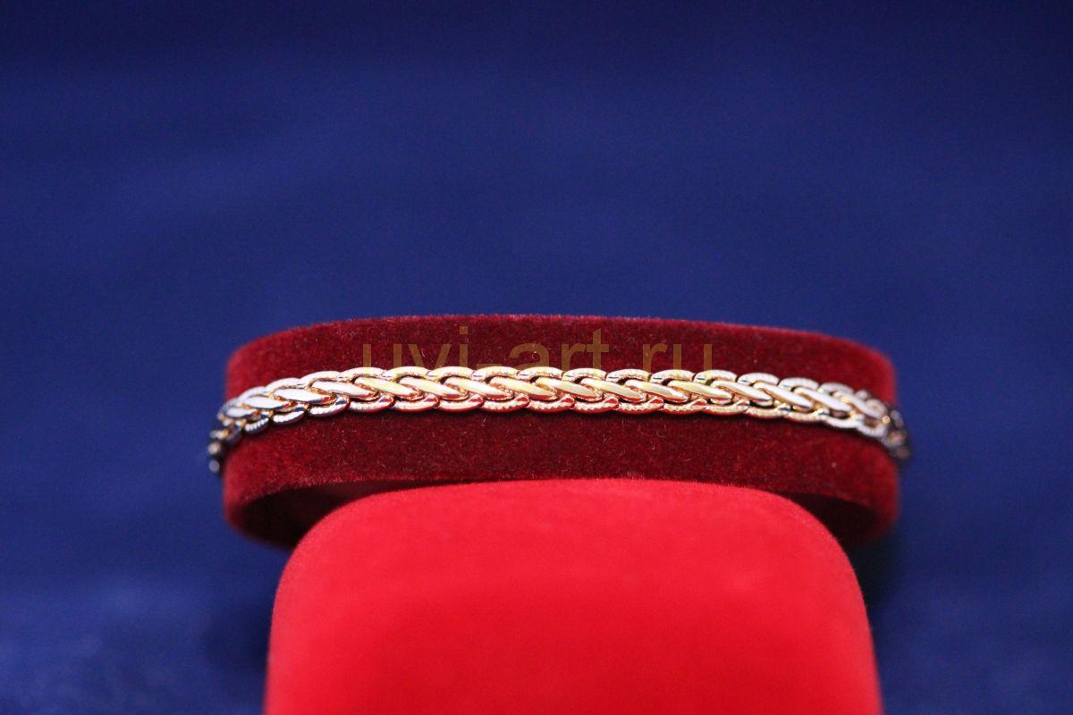 Позолоченный браслет с изящным плетением змейкой (арт. 880104)