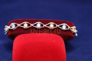 Позолоченный комбинированный браслет с цирконами (арт. 800244)