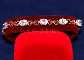 Позолоченный браслет с искусственными бриллиантами (арт. 800245)