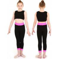 Бриджи гимнастические с широким поясом и манжетами х/б INDIGO SM-355 черно-розовые