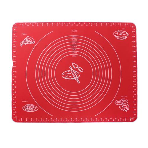 Силиконовый коврик для раскатывания теста, 50х40 см, цвет - красный.