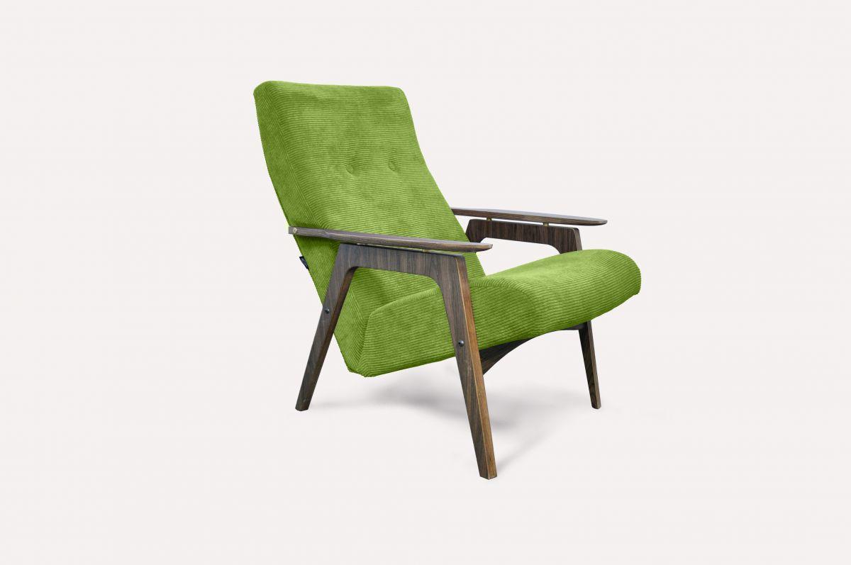 Кресло Каллисто (жёлто-зелёное, вельвет) модерн середины 20 века (Sputnikfurniture)