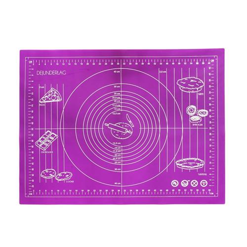 Силиконовый коврик для раскатывания теста, 50х40 см, цвет - фиолетовый.