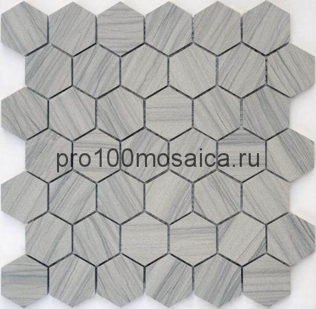 Мозаика Pietrine Hexagonal - Marmara grey полированная 29,2x29,8х0,8 см (чип 23х40х8 мм)