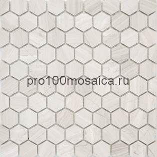 Мозаика Pietrine Hexagonal - Travertino Silver матовая 29,5x30,5х0,6 см (чип 18х30х6 мм)