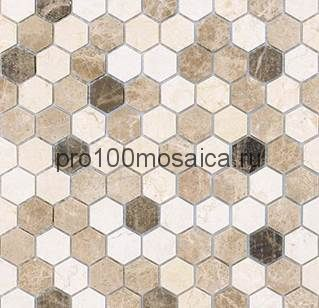 Мозаика Pietrine Hexagonal - Pietra Mix 1 матовая 29,5x30,5х0,6 см (чип 18х30х6 мм)