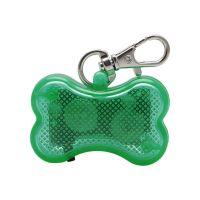 Светодиодный брелок-адресник с информационной наклейкой для собак Косточка, Цвет Зеленый (2)