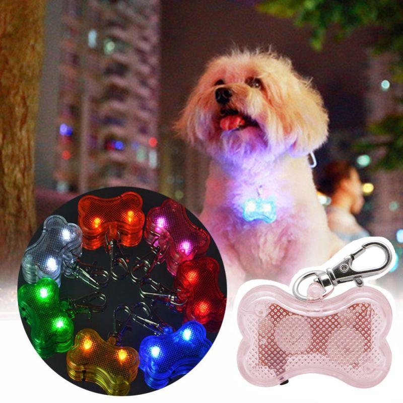 Светодиодный Брелок-адресник с Информационной Наклейкой для Собак Косточка, Цвет Розовый