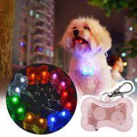 Светодиодный брелок-адресник с информационной наклейкой для собак Косточка, Цвет Розовый (1)