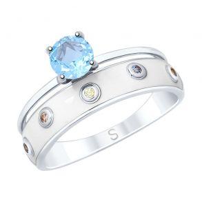 Кольцо из серебра с эмалью и топазом и фианитами 92011606 SOKOLOV