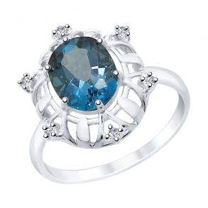 Кольцо из серебра с синим топазом и фианитами 92011781 SOKOLOV