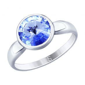 Кольцо из серебра с синим кристаллом Swarovski 94012603 SOKOLOV