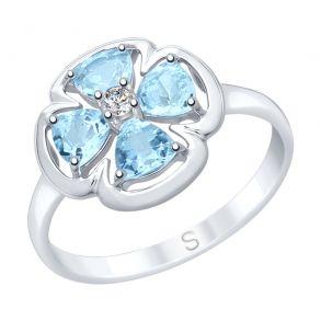 Кольцо из серебра с топазами и фианитом 92011748 SOKOLOV