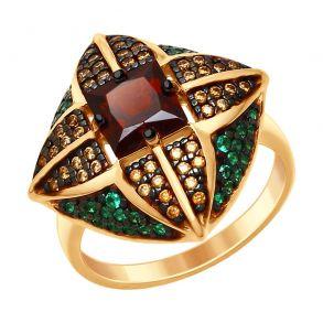 Кольцо из золочёного серебра с гранатом и жёлтыми и зелеными фианитами 92011432 SOKOLOV
