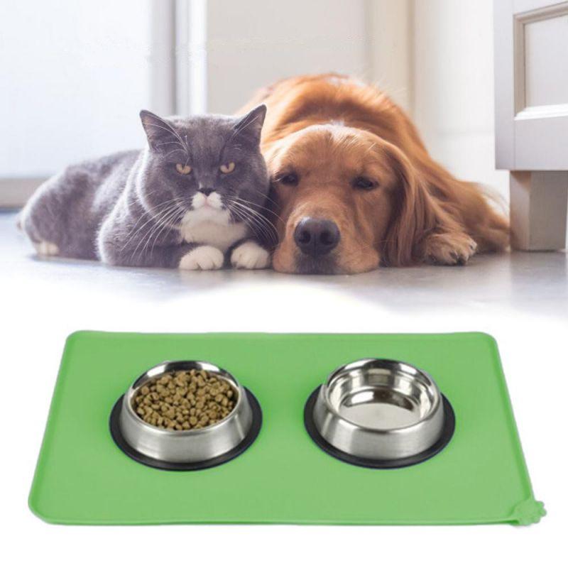 Противоскользящий коврик под миску Pet Supplies, 46х36 см, Цвет Зеленый